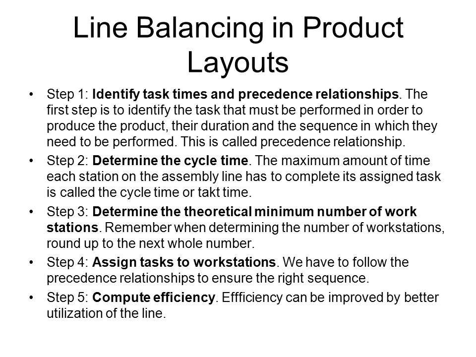 Line Balancing in Product Layouts