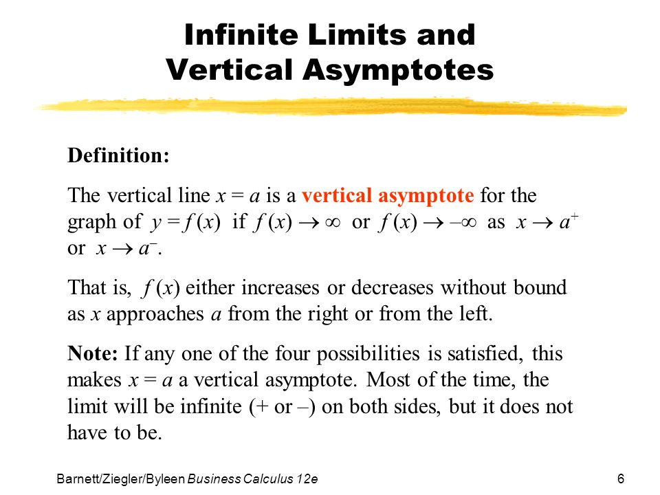 Chapter 3 limits and the derivative ppt video online download infinite limits and vertical asymptotes ccuart Images