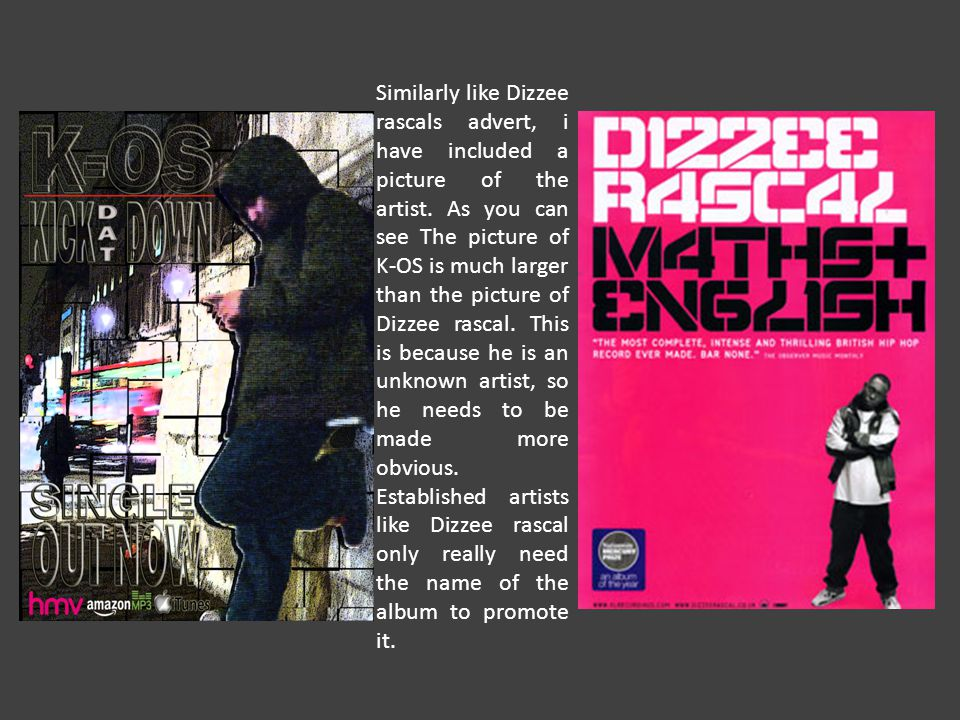 Similarly like Dizzee rascals advert, i have included a picture of the artist.