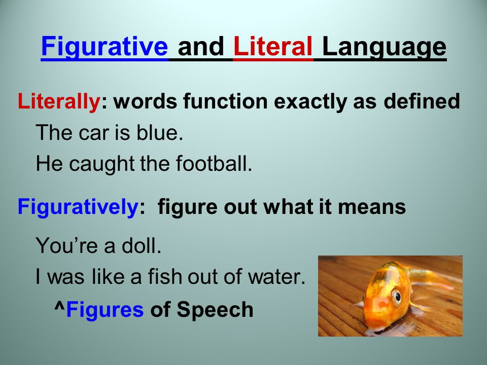 literal versus figurative language In this lesson, students will work on identifying examples of non-literal language within a text and distinguish the meanings of literal from non-literal words and phrases in context.