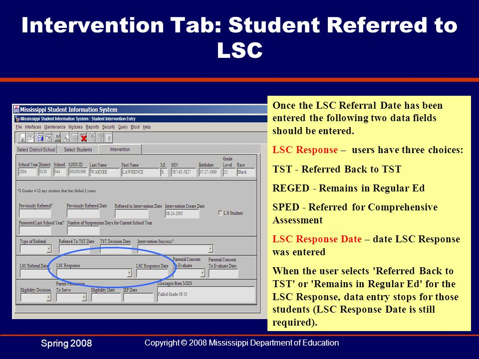 Intervention Tab: Student Referred to LSC