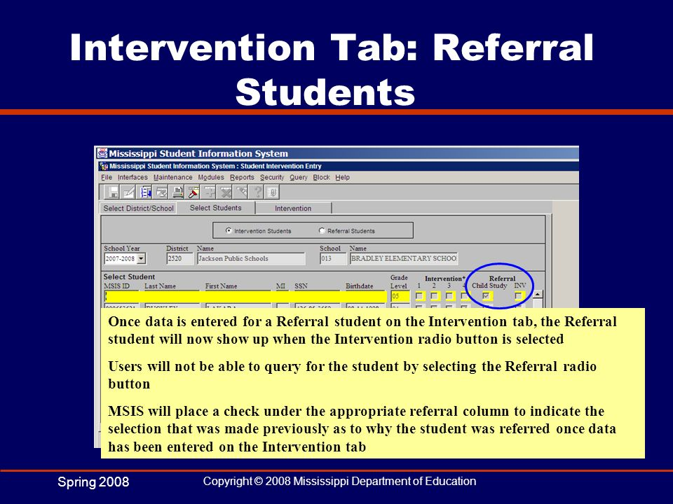 Intervention Tab: Referral Students