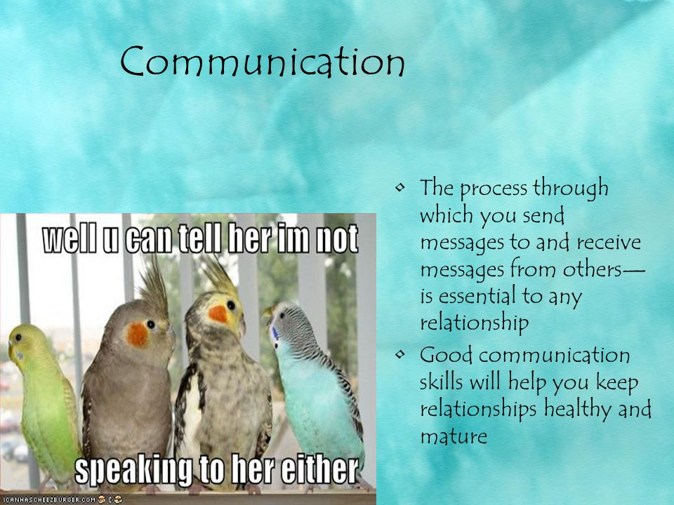 Communication The process through which you send messages to and receive messages from others—is essential to any relationship.
