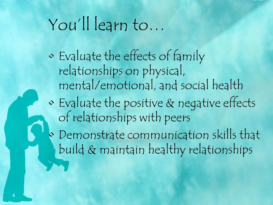 You'll learn to… Evaluate the effects of family relationships on physical, mental/emotional, and social health.