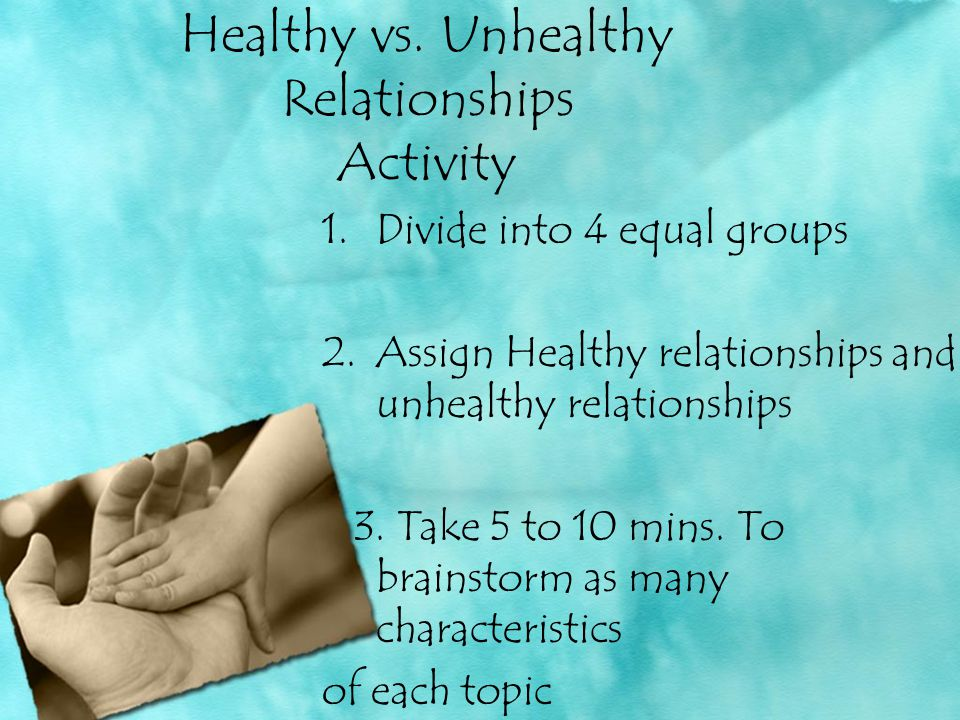 Healthy vs. Unhealthy Relationships Activity