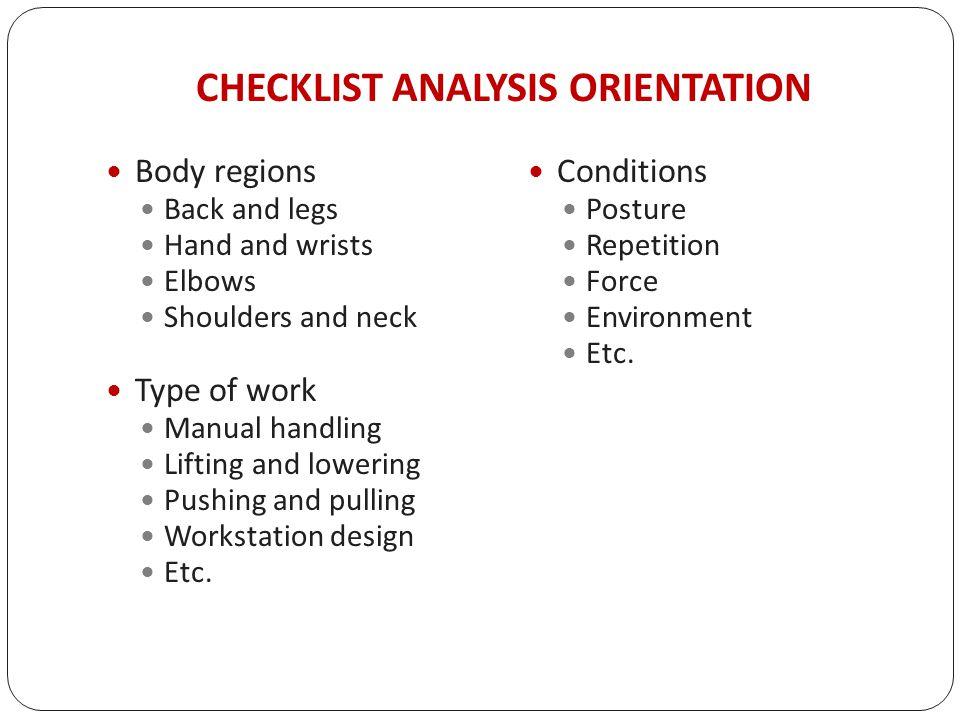 manual handling risk assessment checklist