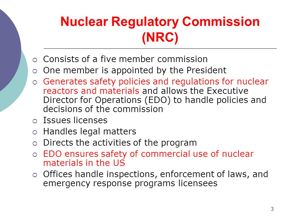 Nuclear Regulatory Commission (NRC)