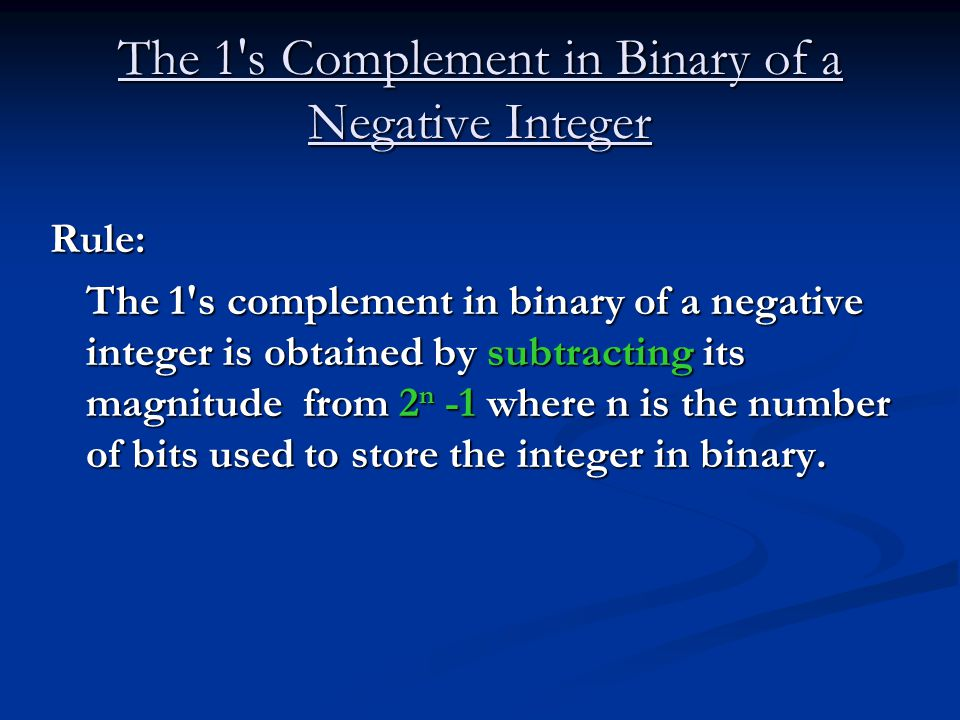 Subtraction of binary numbers using 139s complement ppt
