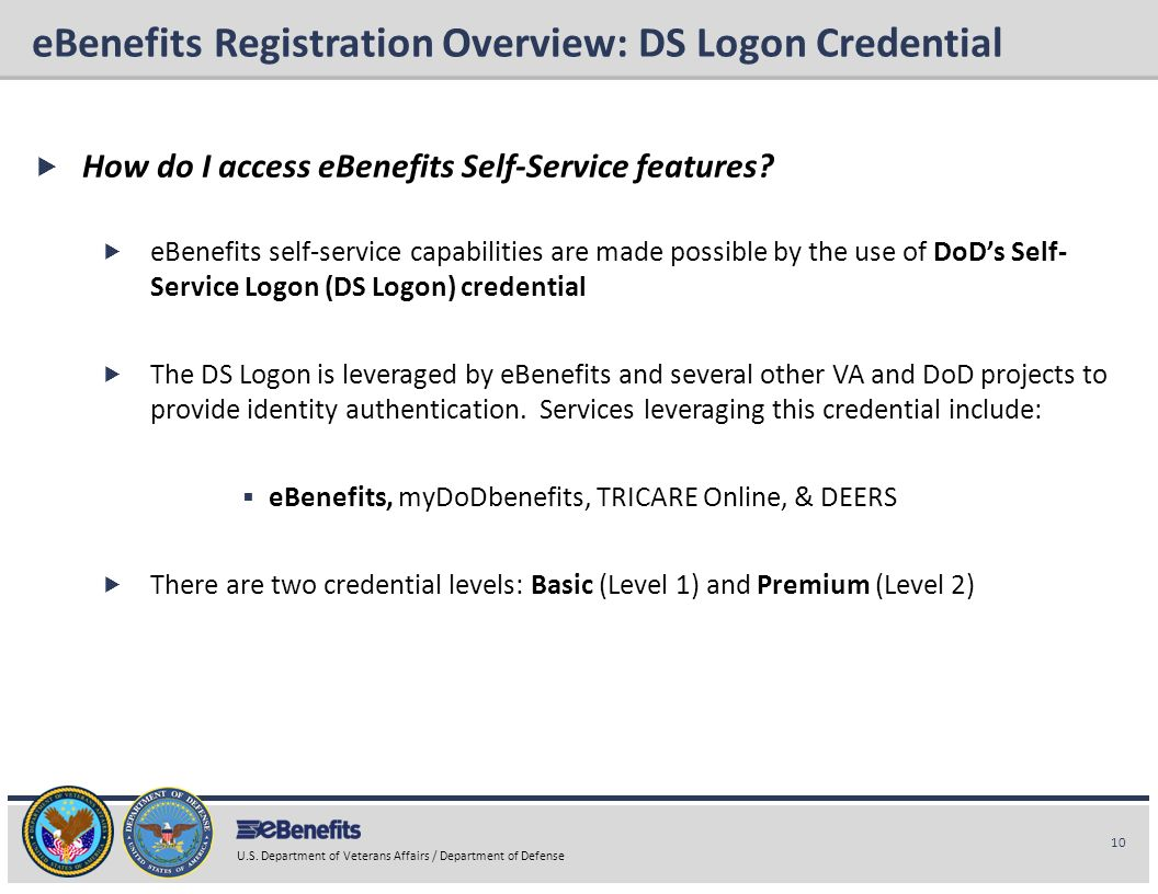 eBenefits Registration Overview: DS Logon Credential
