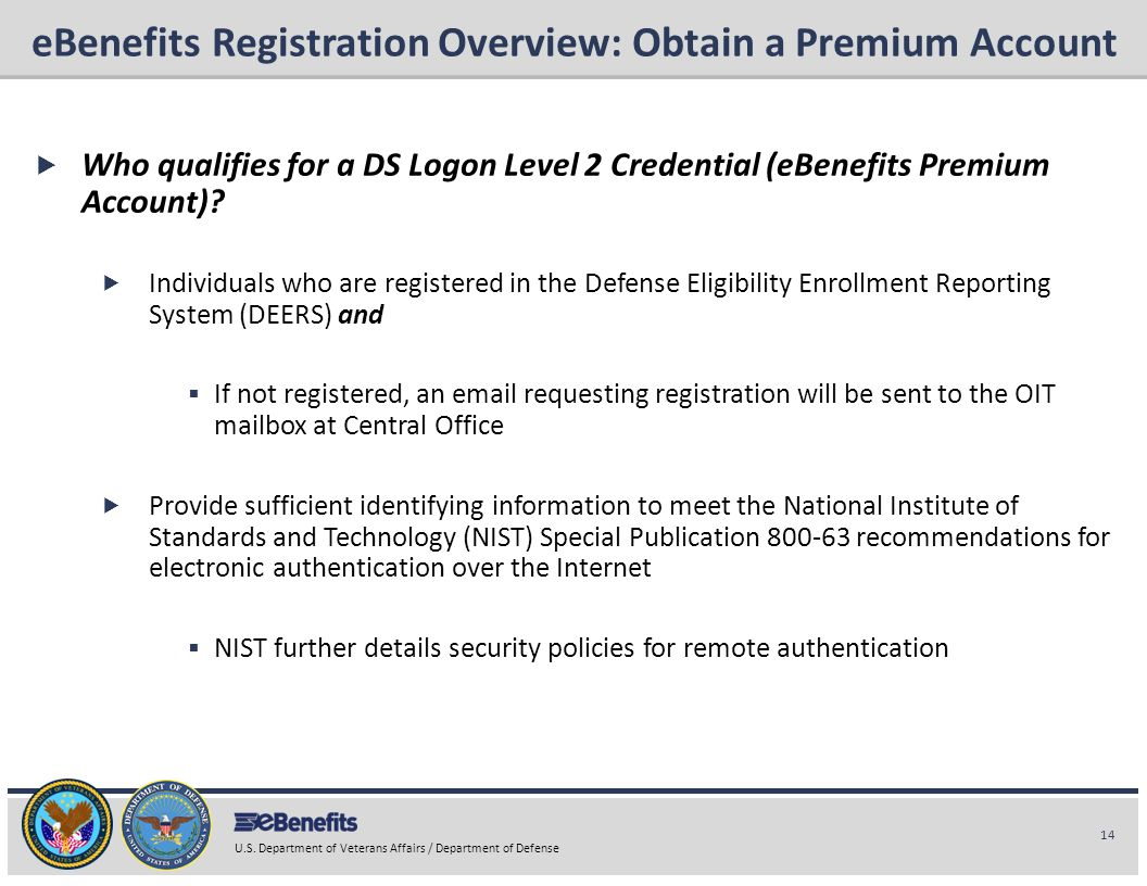 eBenefits Registration Overview: Obtain a Premium Account