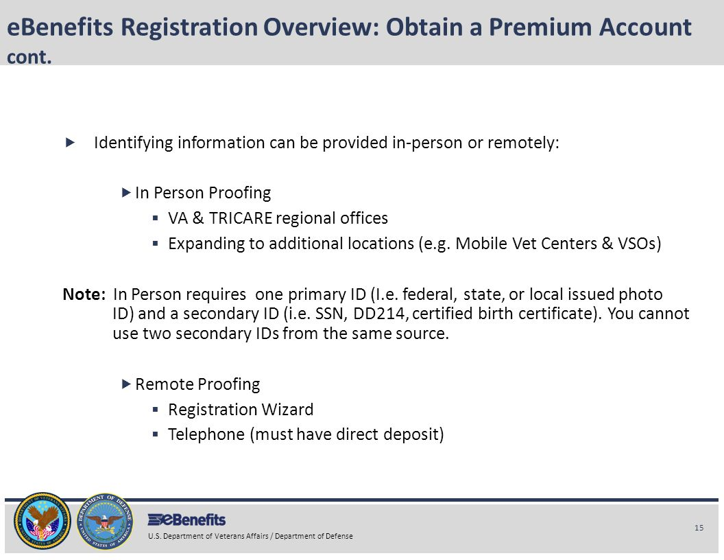 eBenefits Registration Overview: Obtain a Premium Account cont.