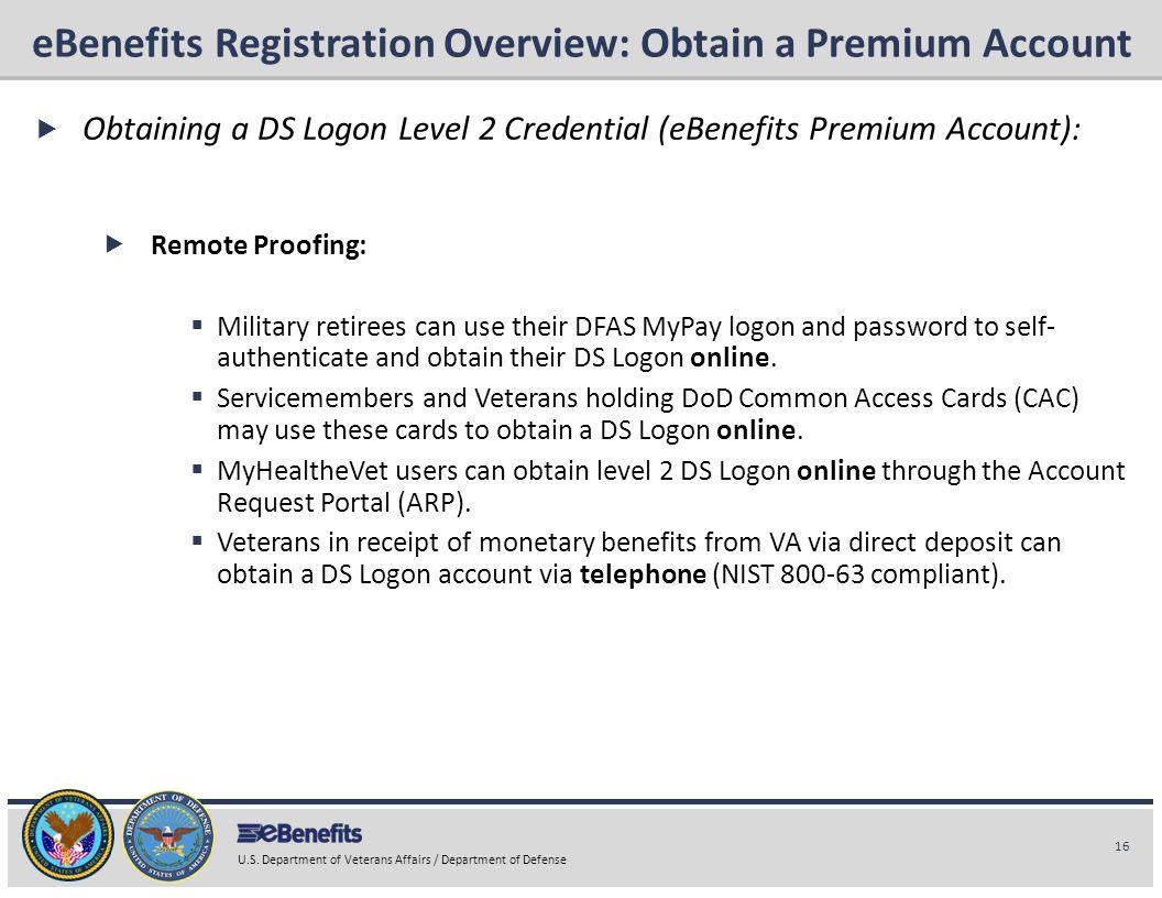 eBenefits Registration Overview: Obtain a Premium Account