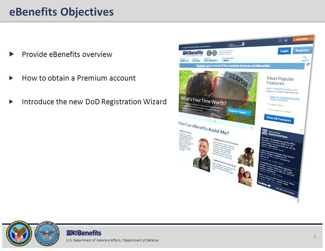 eBenefits Objectives Provide eBenefits overview