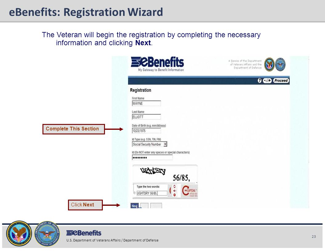 eBenefits: Registration Wizard