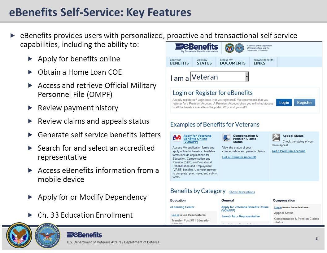 eBenefits Self-Service: Key Features