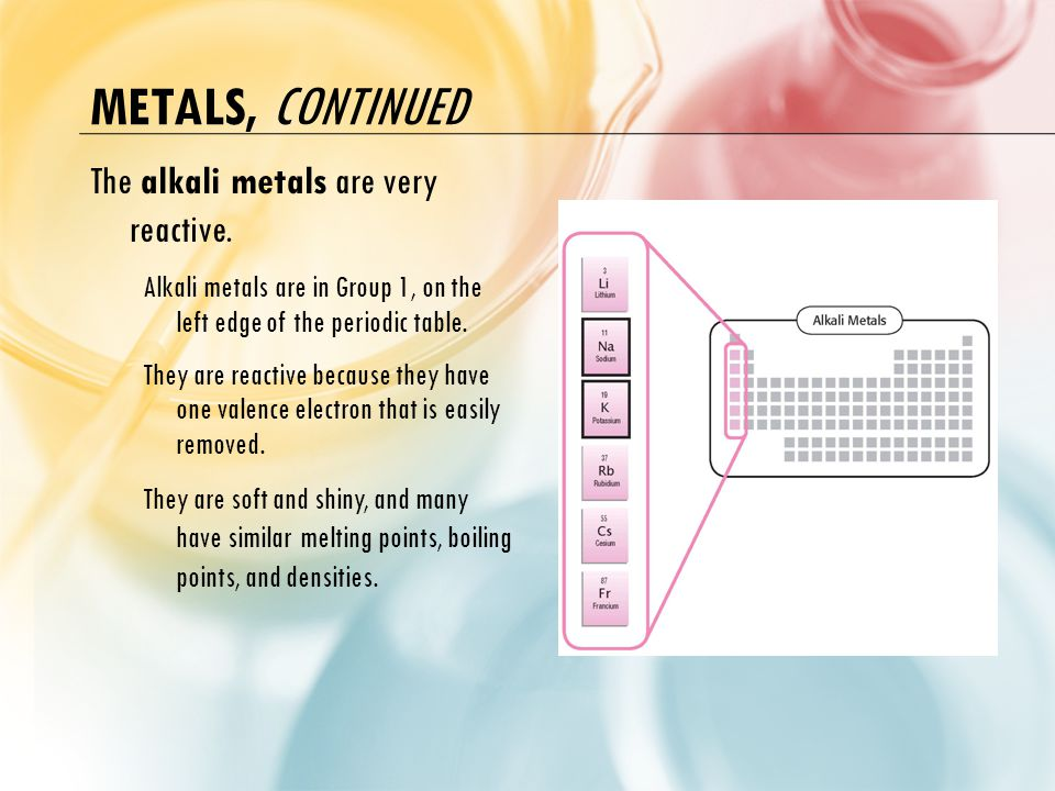 Metals, continued The alkali metals are very reactive.