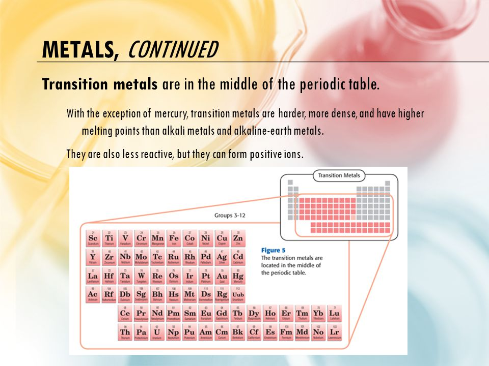 Metals, continued Transition metals are in the middle of the periodic table.