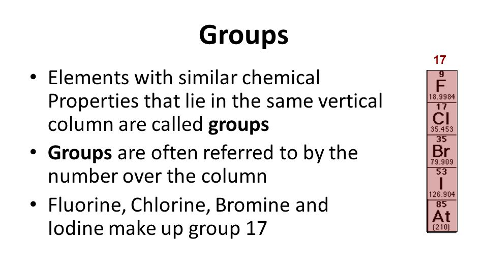 grouping elements with similar chemical properties Periodic table of the elements: periodic table of the elements, the organized array of all the chemical elements in order of increasing atomic number when the elements are thus arranged.