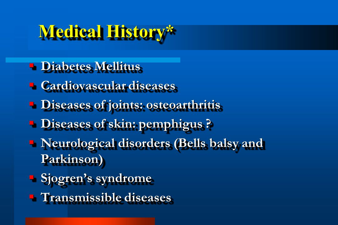 Medical History* Diabetes Mellitus Cardiovascular diseases