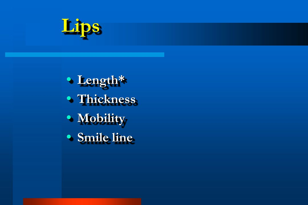 Lips Length* Thickness Mobility Smile line