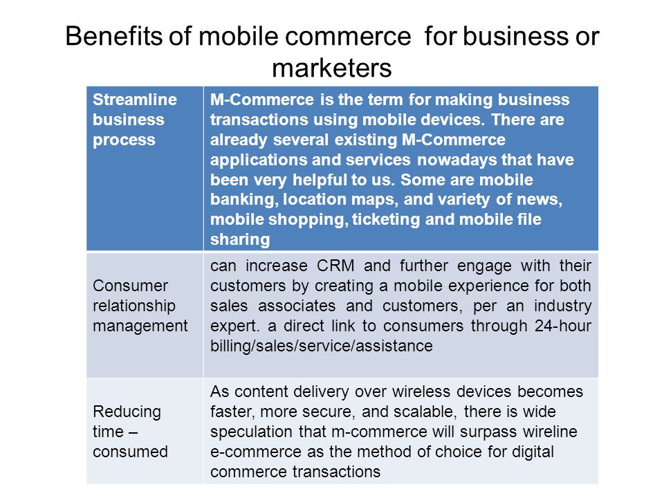 Benefits of mobile commerce for business or marketers