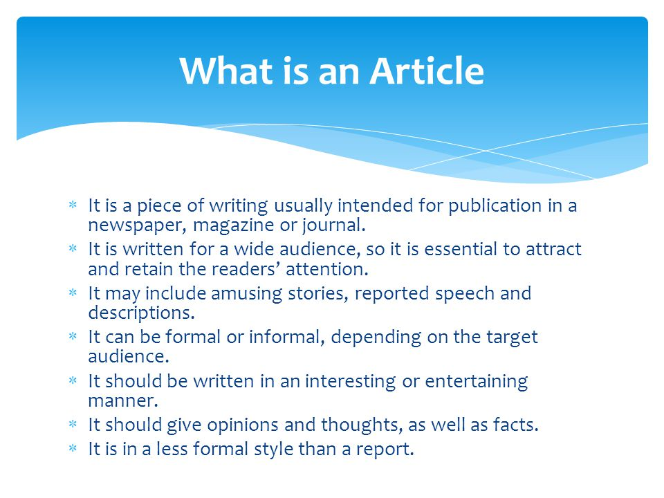 how to write a newspaper article kids ppt