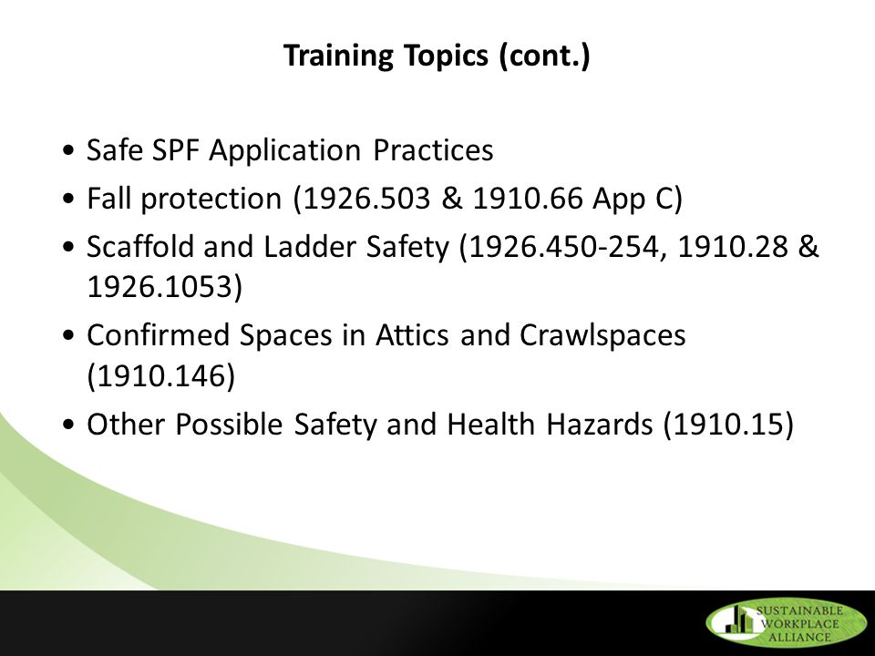Osha Safety And Health Regulations Related To Spf