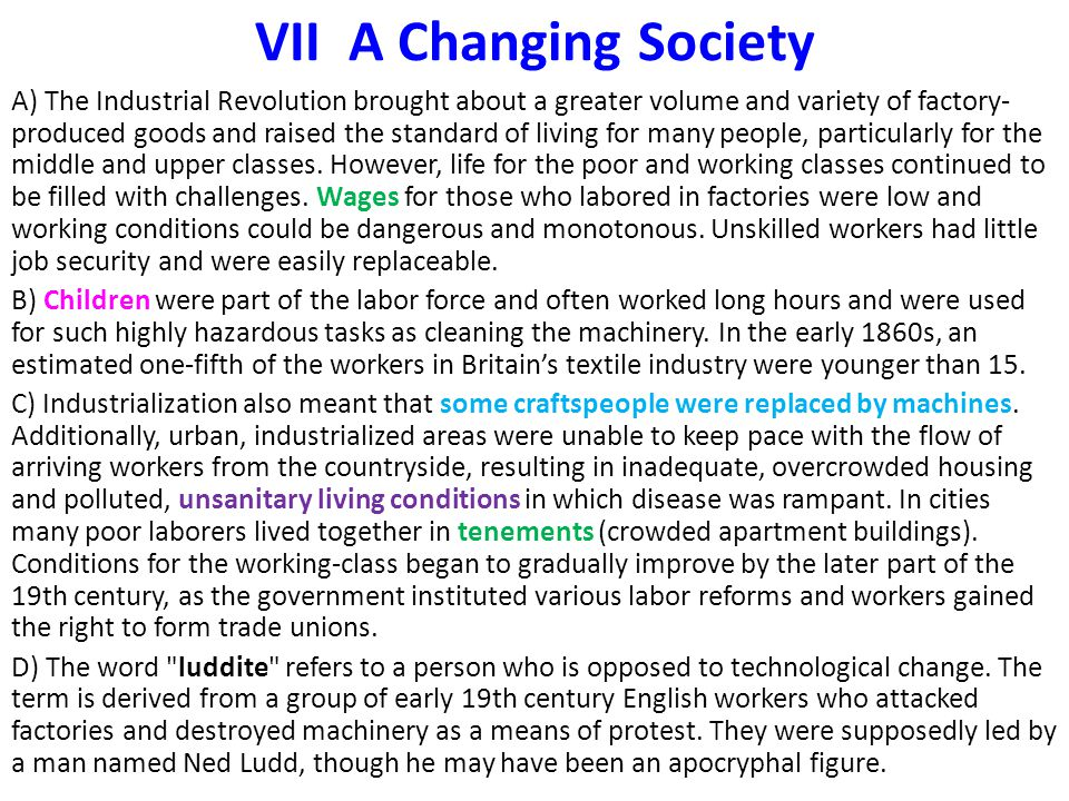 VII A Changing Society