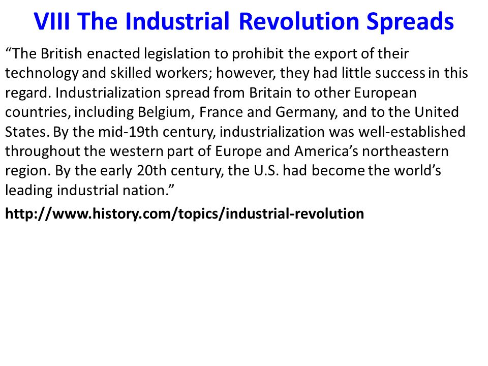 VIII The Industrial Revolution Spreads