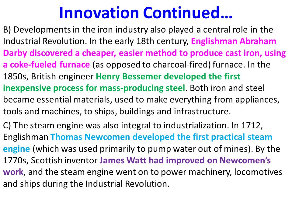 Innovation Continued…