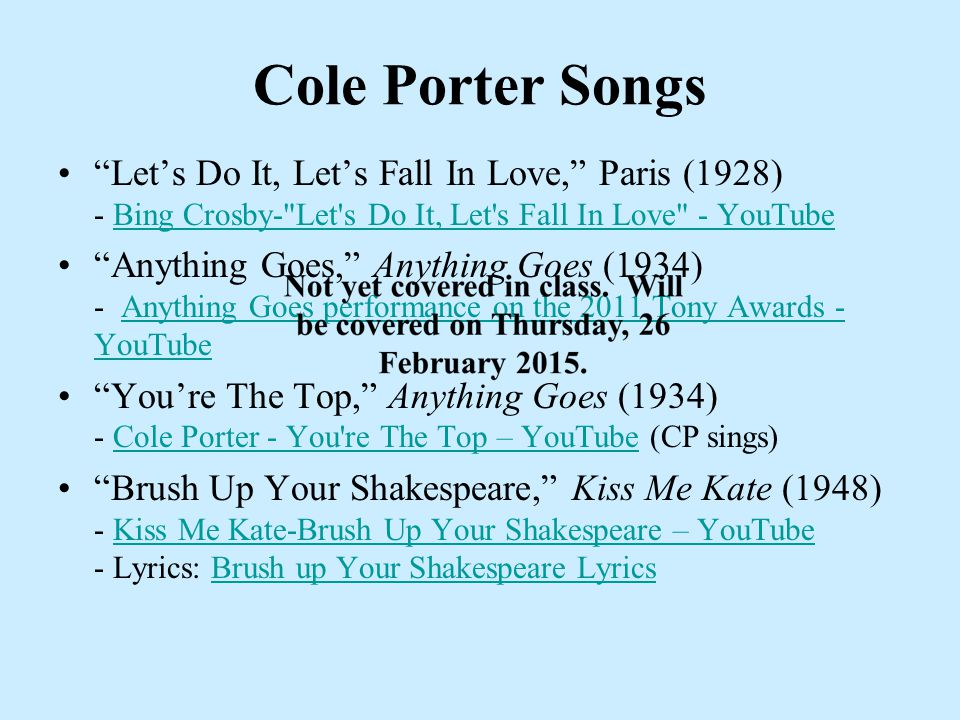 Lyric cole porter lyrics : Friendly Warning Test # 2 follows completion of Chapter 4 ...