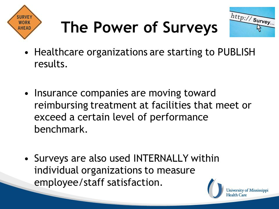 The Power of Surveys Healthcare organizations are starting to PUBLISH results.