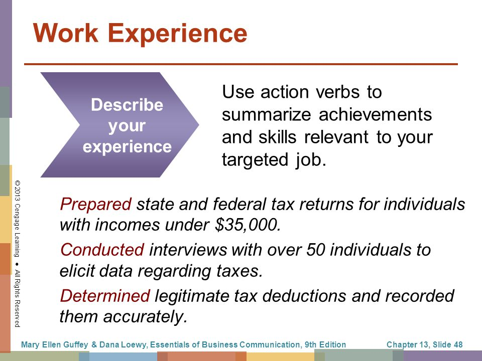 work experience describe your experience use action verbs to summarize achievements and skills