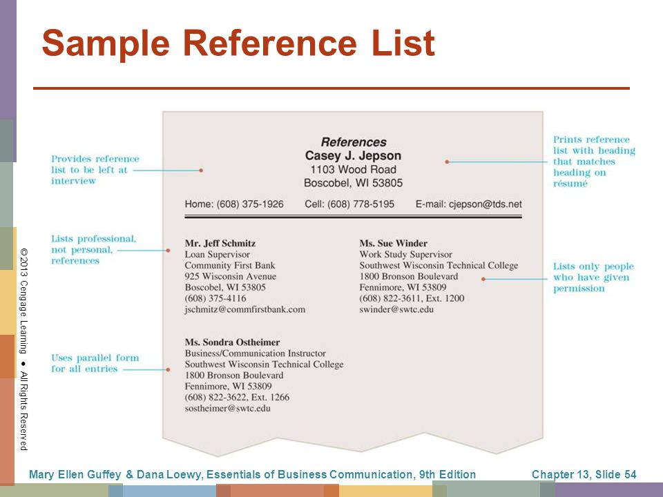 Business Reference List. Job Resume Reference Page Reference
