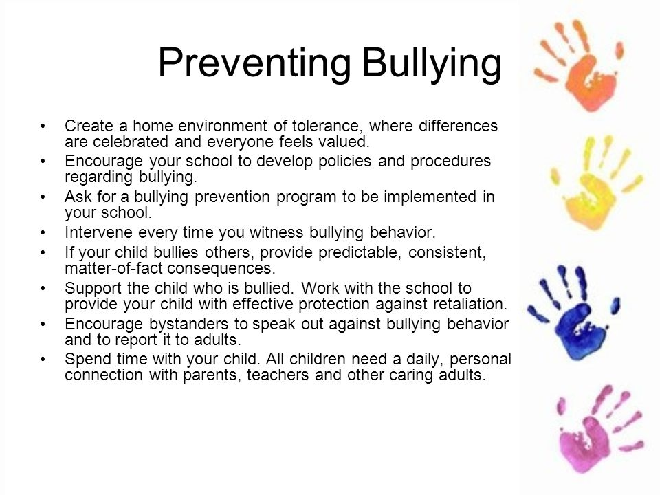 the importance of parental intervention to prevent bullying Strategies to identify and prevent bullying interventions often include creating they can ask for parental assistance are all important steps in.