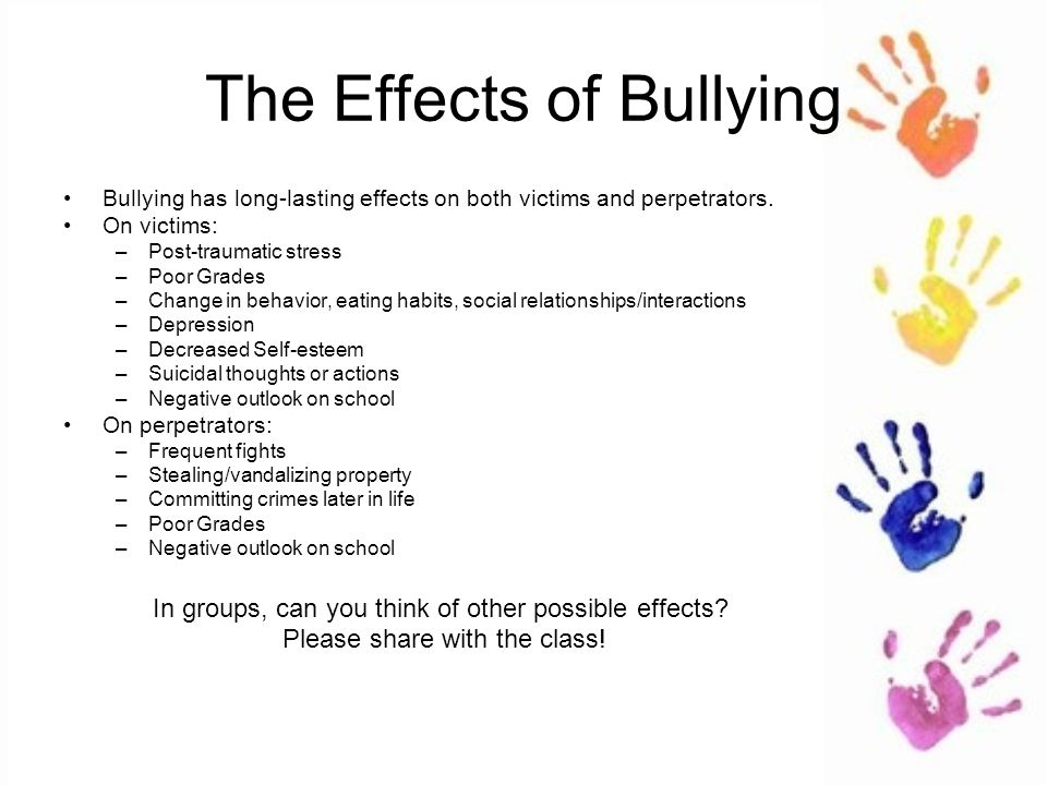 bullying the effects School bullying is a type of bullying that occurs in any educational setting  the effects of bullying were visible nearly four decades later, with health,.