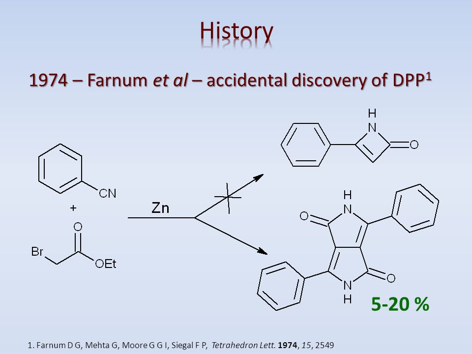 History 5-20 % 1974 – Farnum et al – accidental discovery of DPP1