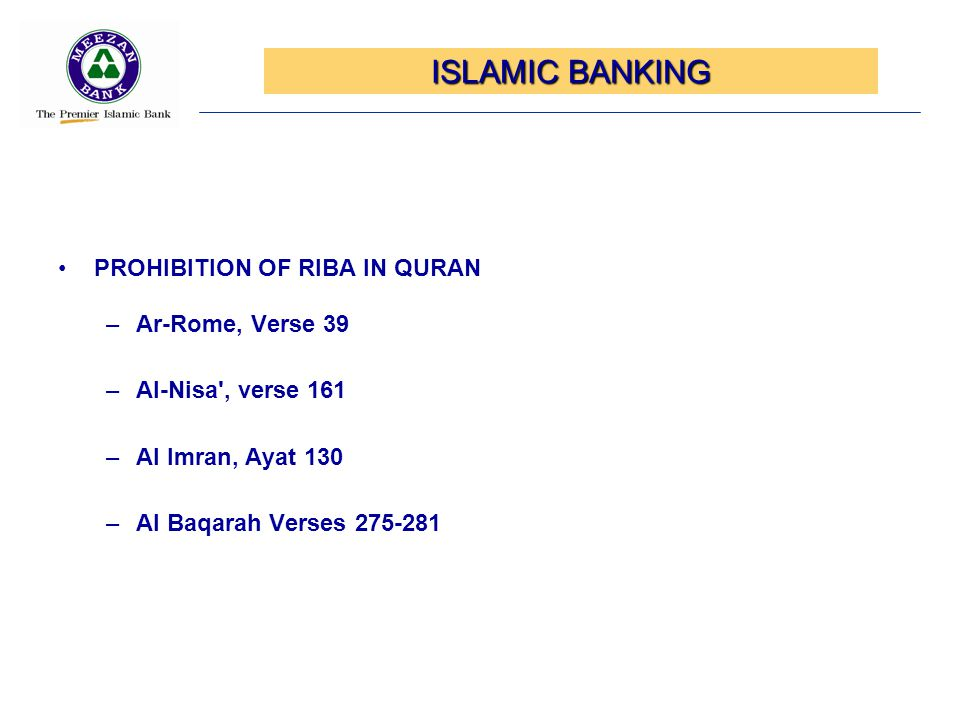 ISLAMIC BANKING PROHIBITION OF RIBA IN QURAN Ar-Rome, Verse 39