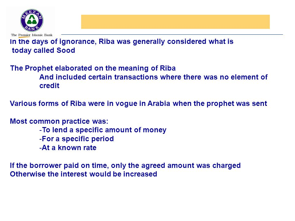 In the days of ignorance, Riba was generally considered what is
