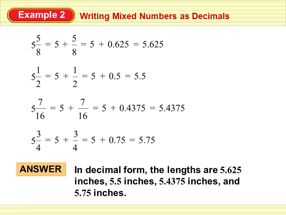 Change Decimals to Mixed Numbers Worksheet