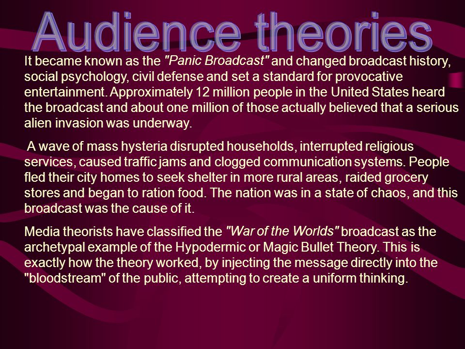 psychology in mass media audience Behaviourists have been prone to view communication in terms of  it must not  be assumed that any of the theories of audience psychology offered to date.