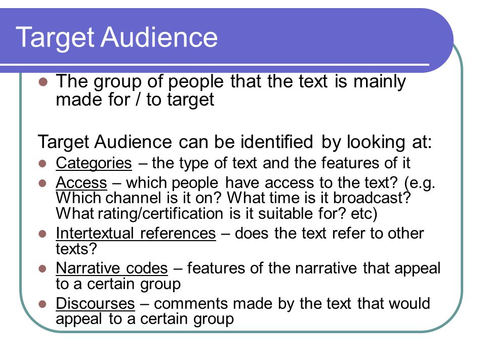 the audience of the two texts Finding a target audience for your book in 3 steps target audiences by gina gagliano writers: 5 tips on how to identify your target audience by joanna penn writing for your [] reply leave a reply cancel reply.
