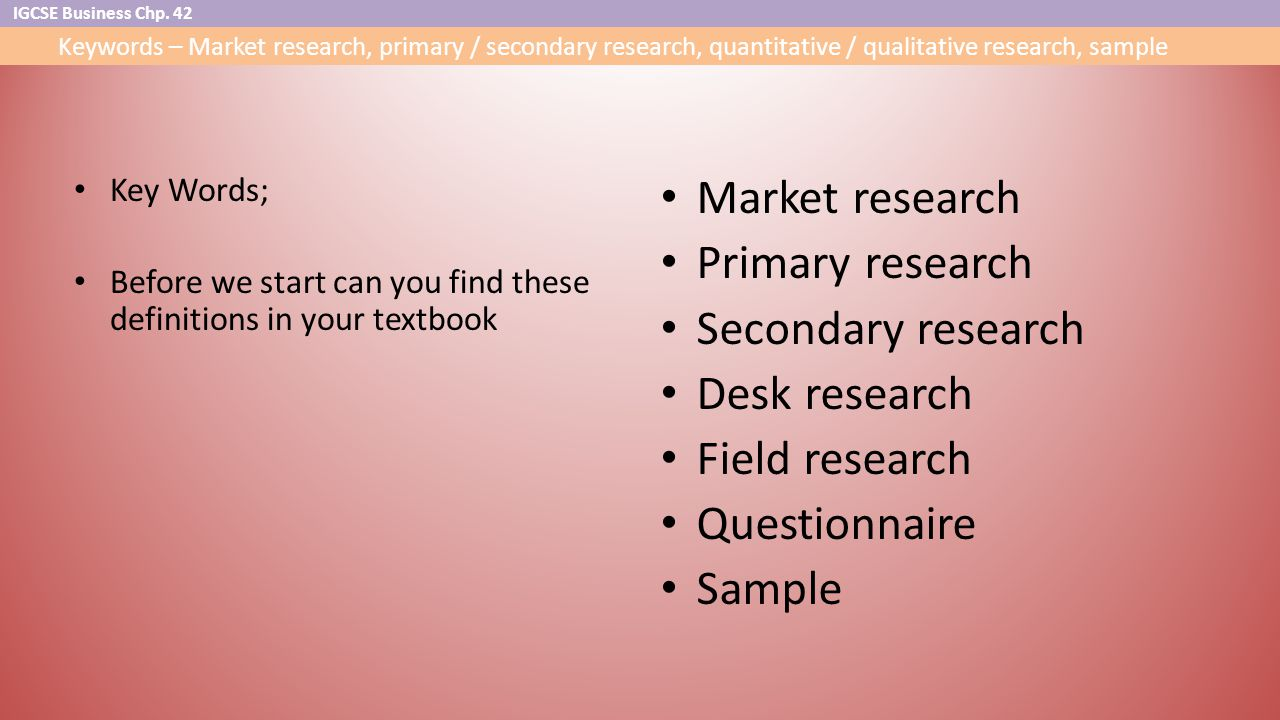 market research primary research Market research supports business decisions as the leading drink supplier in the world throughout both primary and secondary market research.