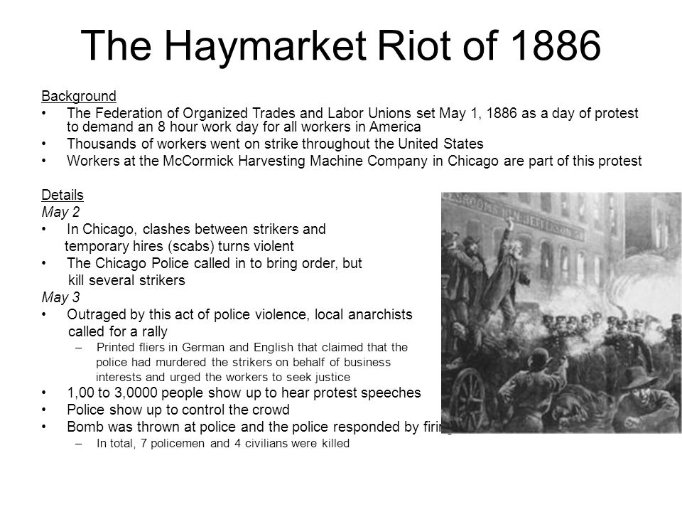 """the haymarket anarchists dangers to chicago and the union Given that november 11 (1887) was known as """"black friday"""" across the globe  because four chicago anarchist labor activists were hung by the."""