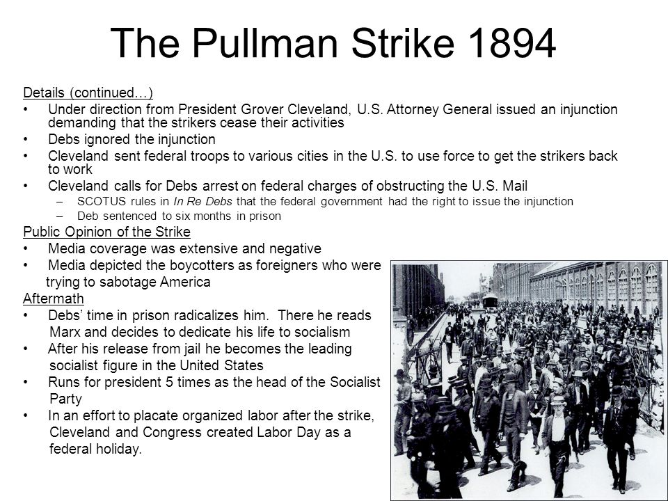 an analysis of the pullman strike of 1894 in the united states of america Pullman strike  these workers appealed for support to the american railway  union (aru), which argued unsuccessfully for  u s troops on lakefront, 1894 .