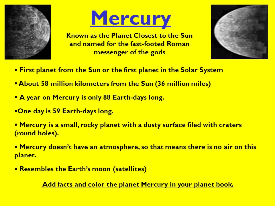 Add facts and color the planet Mercury in your planet book.