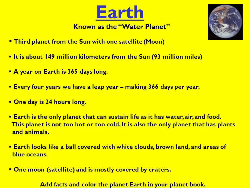 Add facts and color the planet Earth in your planet book.