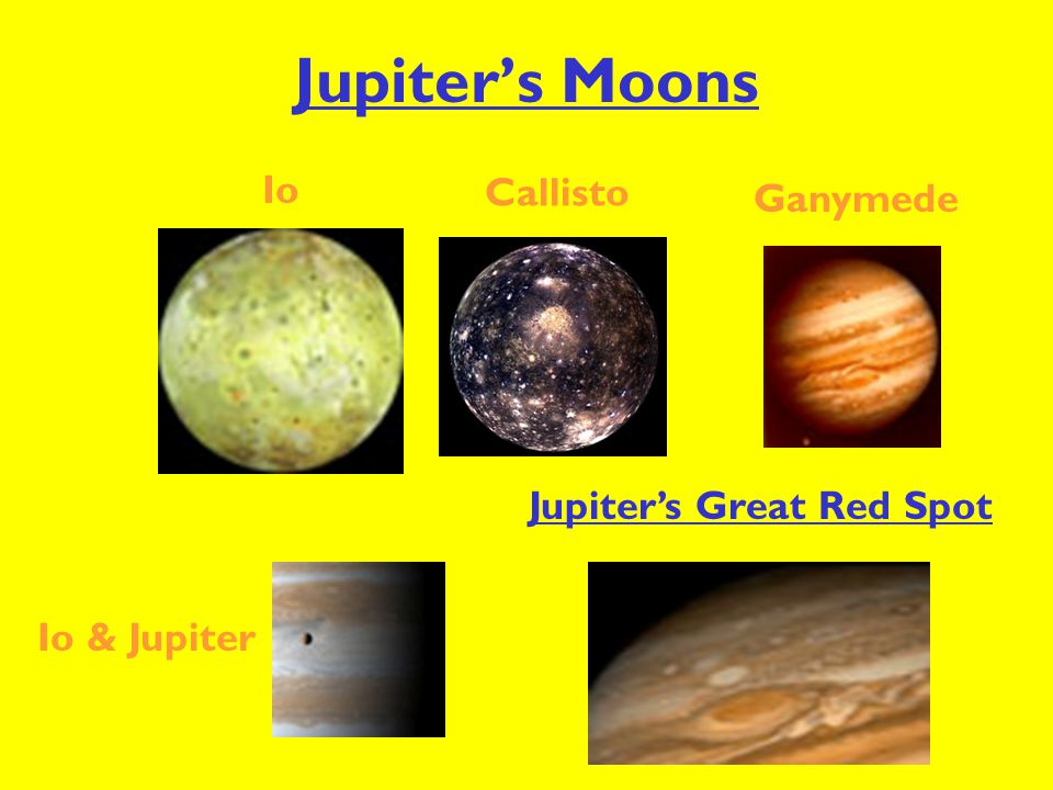 Jupiter's Moons Io Callisto Ganymede Jupiter's Great Red Spot