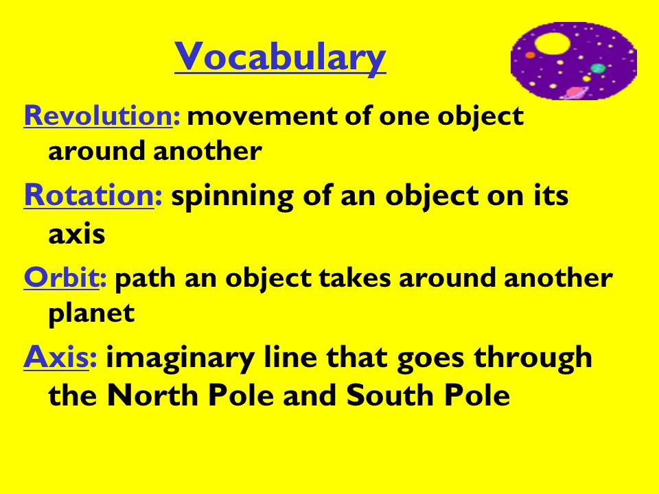 Vocabulary Rotation: spinning of an object on its axis