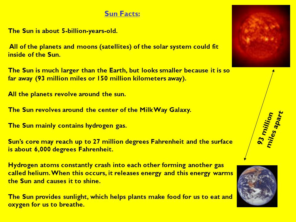 Sun Facts: 93 million miles apart